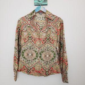 Ann Taylor Silk Coral Paisley Blouse size 0